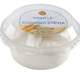 Cups vanille mousse, met steviolglycosiden uit stevia