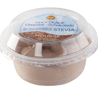 Cup chocolade mousse, met steviolglycosiden uit stevia
